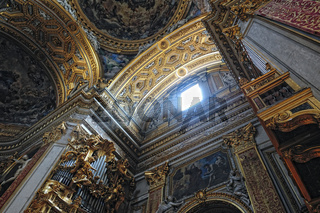 gorgeous сeiling of the baroque chirch in Italy, Rome.