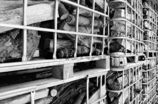 Gitterboxen mit Brennholz  schwarz- weiss