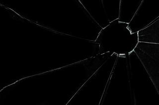 Crackled and broken glass