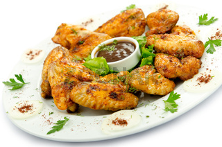Chicken wings barbeque in the plate