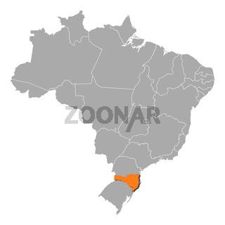 Map of Brazil, Santa Catarina highlighted