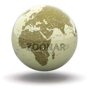 Political world globe on white isolated background. 3d