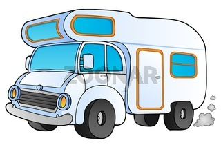 Cartoon camping van - picture illustration.