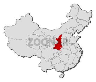 Map of China, Shaanxi highlighted