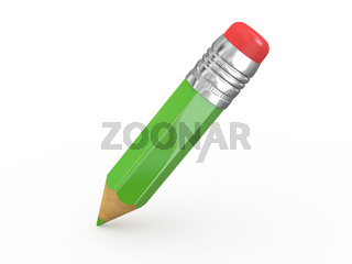 Pencil with eraser on white isolated background. 3d