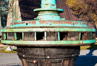 Close up antique winch