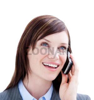 Businessman holding a phone on whitebackground