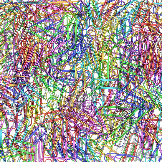 Colorful paper clips on white background. High resolution 3D image