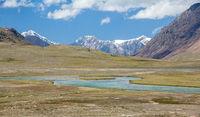 Panorama of Arabel-Suu river and lake. Kyrgyzstan