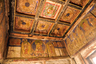 Decorated ceiling in an old nepalese house in himalayas