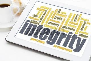 integrity word cloud on digital tablet