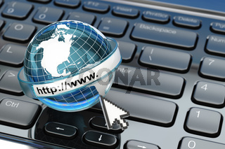 Browser. Internet concept.. Earth on laptop keyboard.