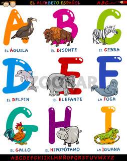 cartoon spanish alphabet with animals
