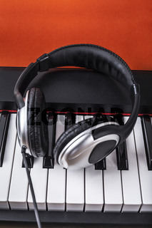 Digital piano and headphones
