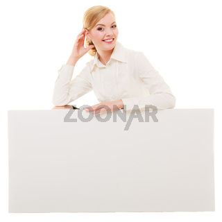 Ad. Businesswoman showing blank copy space banner