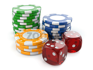 Gambling casino. Dice and chips.