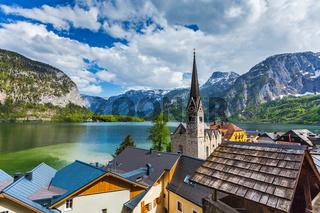 Austrian tourist destination Hallstatt village on  Hallstätter See in Austrian alps. Salzkammergut region