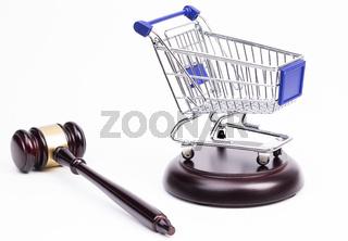 Auktionshammer Einkaufswagen