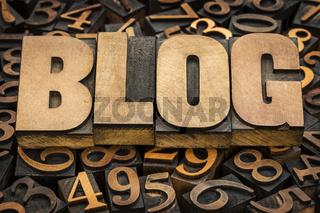 blog word in wood type