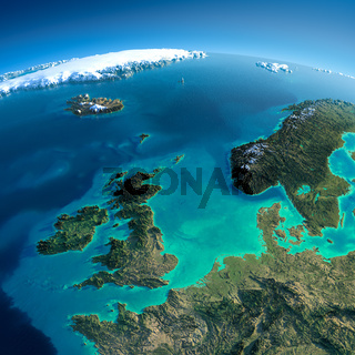 Detailed Earth. United Kingdom and the North Sea