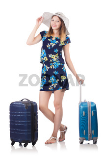 Woman with suitcases isolated on white