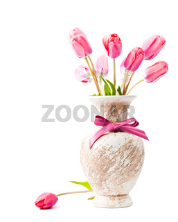 Pink tulips in vase