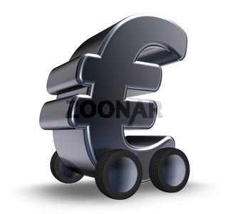 eurosymbol auf rädern - 3d illustration