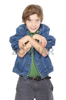 playful teenage boy makes strange gestures, isolated on white