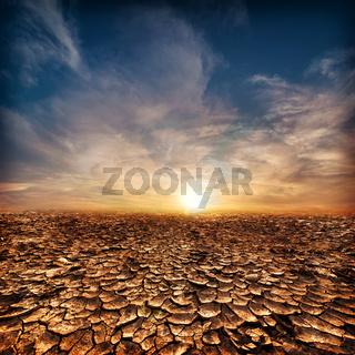 Global warming concept. Desert