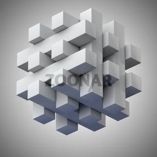Puzzle aus vielen Blöcken als Quader
