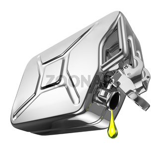 One last drop of fuel from jerrycan. Engine oil and aluminium canister isolated on white background.