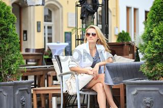 at a sidewalk cafe