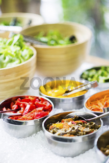 salad bowls with mixed fresh vegetables