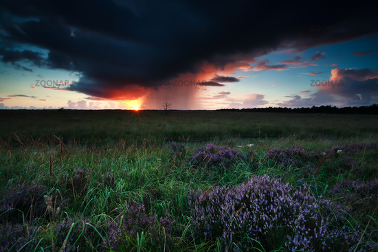 coming dramatic storm during sunset