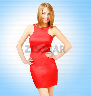 Sensual girl in red dress with beautiful make-up