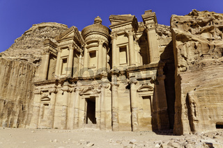 monumental facade of ed dier in ancient nabataeans city of petra, jordan