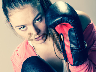 Woman training. Boxing.