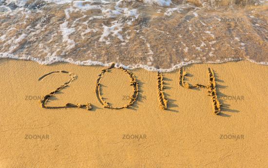 2014 on beach in sand strip of the coast