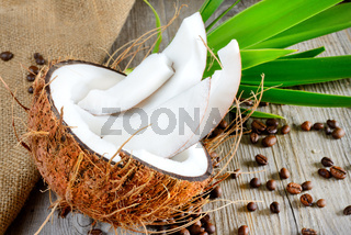 fresh coconut sliced