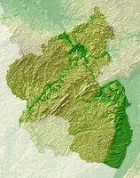 Rheinland-Pfalz - topografische Relief Karte