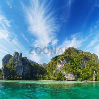 Marine tropical landscape with limestone cliffs. Thailand