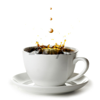 Coffee splash in cup