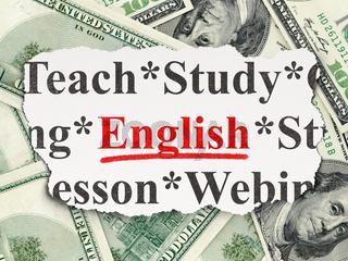 Education concept: English on Money background