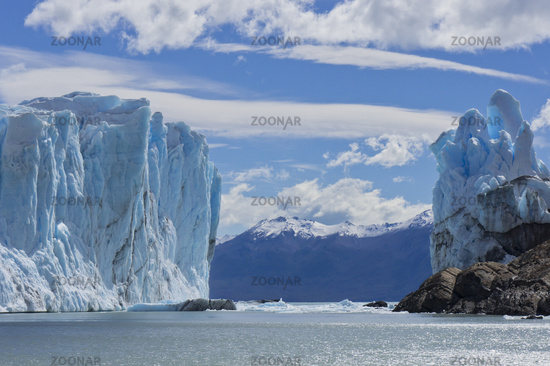 Patagonia, Perito Moreno blue glacier.View from lake boat.