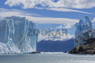 Patagonia, Perito Moreno blue glacier.View from lake boat.