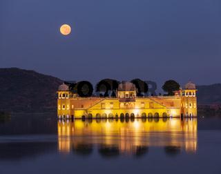 Rajasthan landmark - Jal Mahal (Water Palace) on Man Sagar Lake in the evening in twilight.  Jaipur