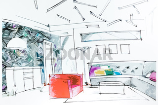 Lliving room watercolor drawing