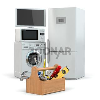 Appliance repair. Toolbox and tv, refrigerator, washing machine