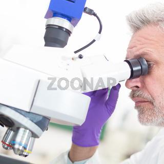 Senior scientist  microscoping in lab.