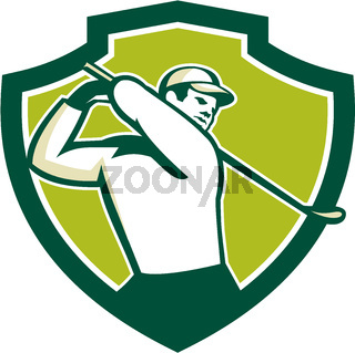 Golfer Tee Off Golf Shield Retro